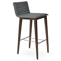 Corona Modern Bar Stool Grey Leatherette + Walnut