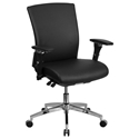Corona 300 lb Capacity Black Leather Low Back Office Chair