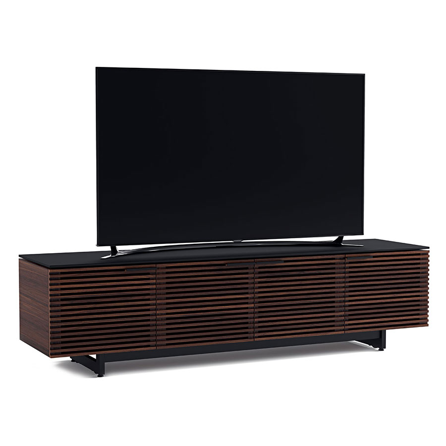 corridor modern chocolate low tv stand by bdi  eurway -  corridor chocolate low contemporary tv stand dressed