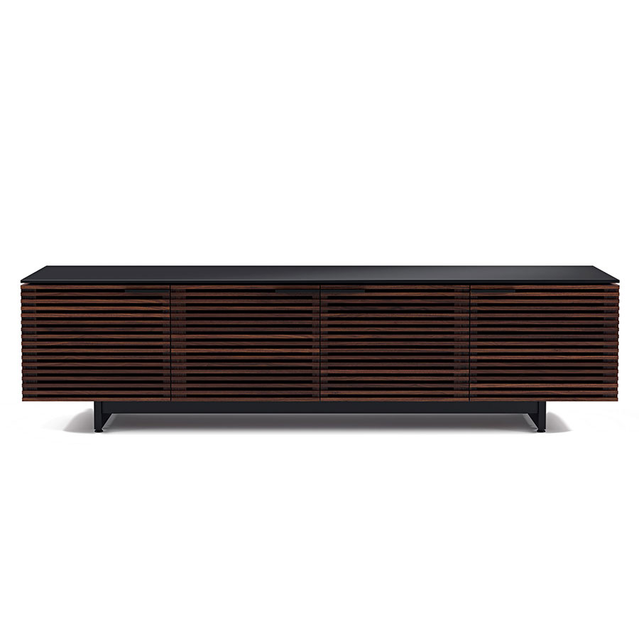 corridor modern chocolate low tv stand by bdi  eurway -  corridor chocolate low contemporary tv stand front