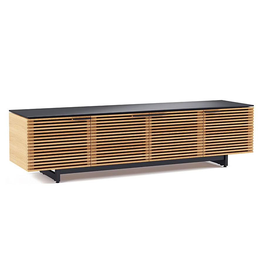 bdi corridor oak low modern tv stand  eurway furniture - corridor oak low contemporary tv stand