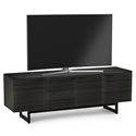 BDi Corridor Wide Modern TV Stand in Charcoal Stained Ash with Powder Coated Steel Base