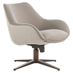 Cortlandt Modern Lounge Chair in Cobblestone and Oxford Fabric Upholstery + Walnut Wood Base by Modloft Black