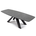 Cosmo Anthracite Base + Pietra Gray Marble Ceramic Dining Table by Pezzan
