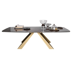 Pezzan Cosmo Modern Dining Table - Emperador + Gold
