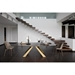 Cosmo Gold Base + Emperador Marble Ceramic Dining Table by Pezzan