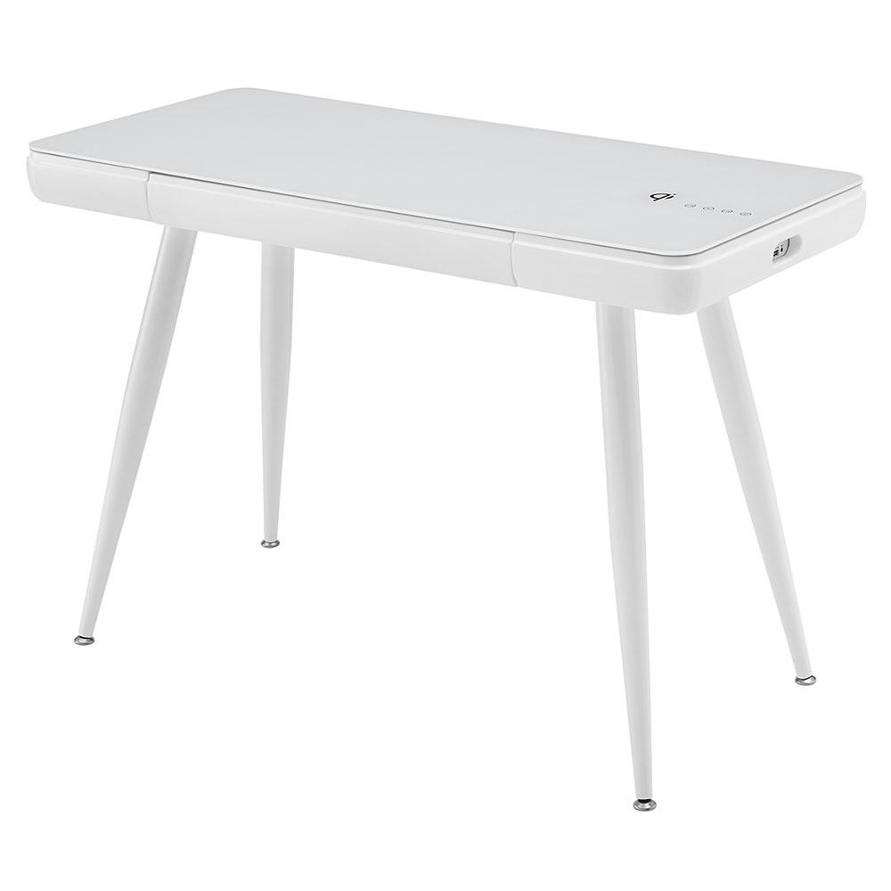 Coswig Glossy White Modern Desk With Bluetooth Speakers, USB and Wireless Charging