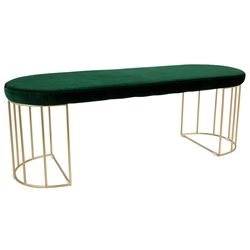Council Modern Green Velvet + Gold Bench
