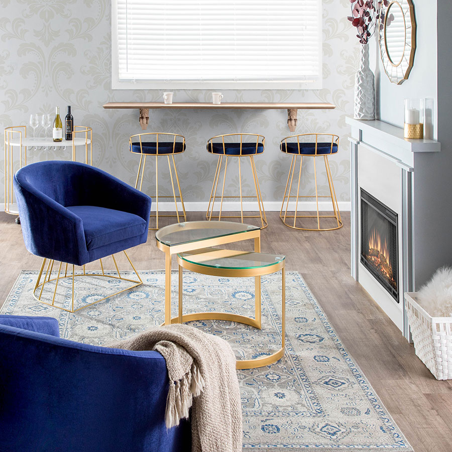 Council Gold Blue Modern Counter Stool Eurway