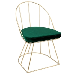 Council Gold + Green Modern Dining Chair
