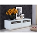 Court White Lacquer + Clear Glass Contemporary Entertainment Center