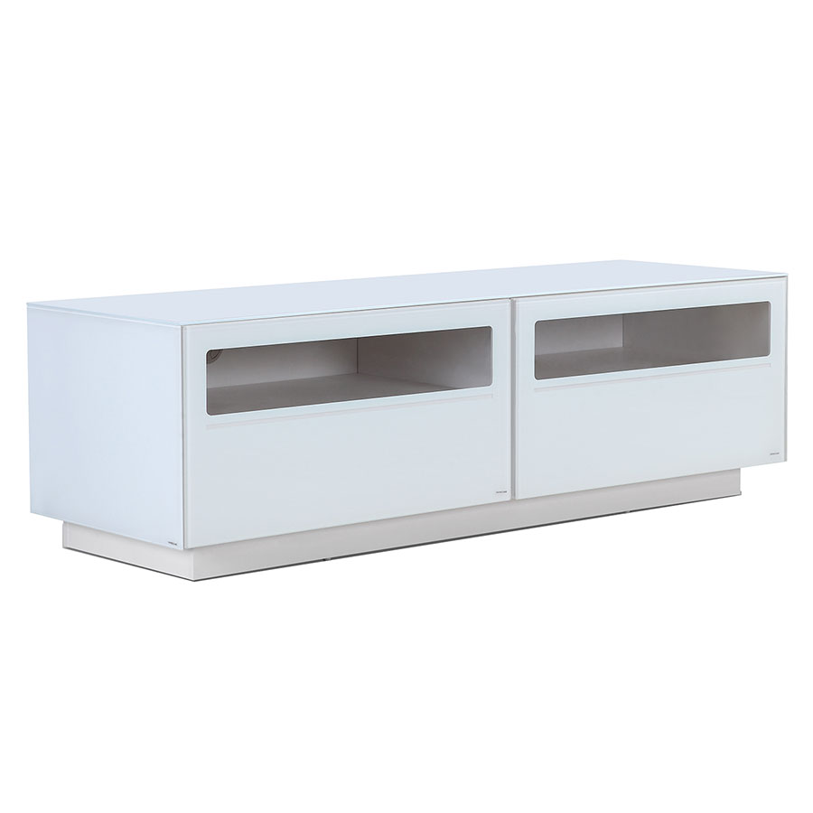 Court White Lacquer + Clear Glass Modern Entertainment Center