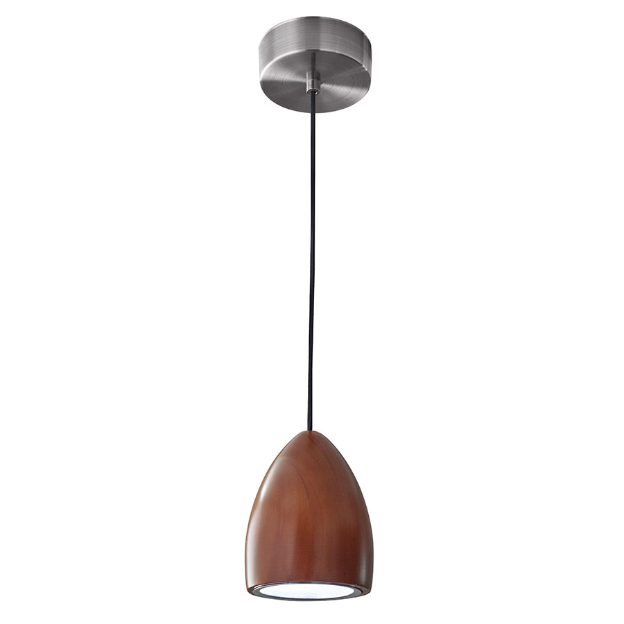 Craddock Modern Oval Walnut LED Pendant Lamp