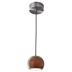 Craddock Modern Round Walnut LED Pendant Lamp