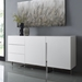 Clement White Lacquer + Polished Steel Modern Sideboard - Room Shot