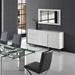 Clement White Lacquer + Polished Steel Modern Sideboard - Lifestyle