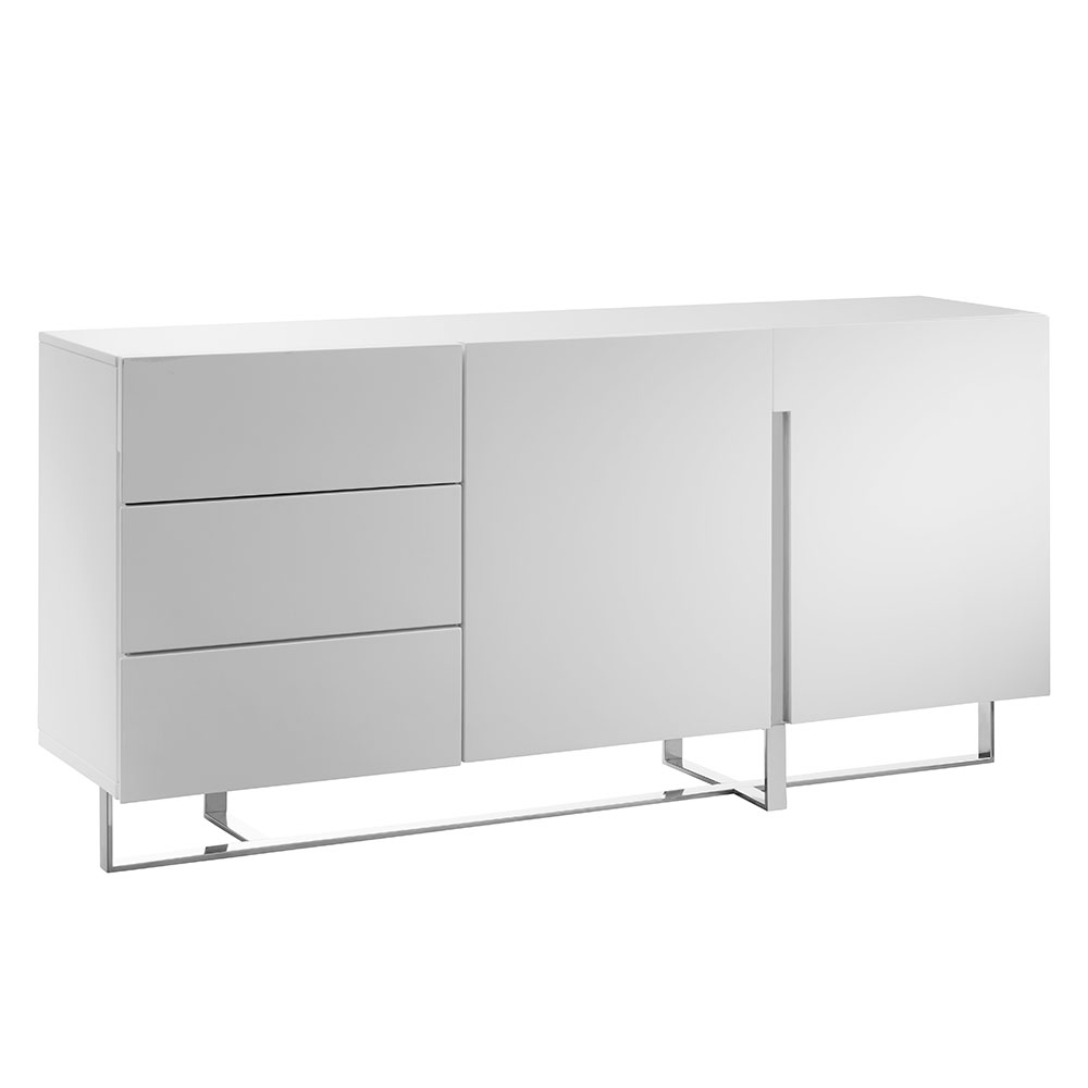 Clement White Lacquer + Polished Steel Modern Sideboard