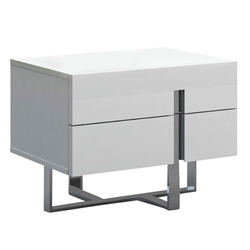Crestor High Gloss White Lacquer + Steel Modern Nightstand + End Table