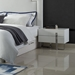 Clement White Lacquer + Polished Steel Modern Nightstand - Lifestyle