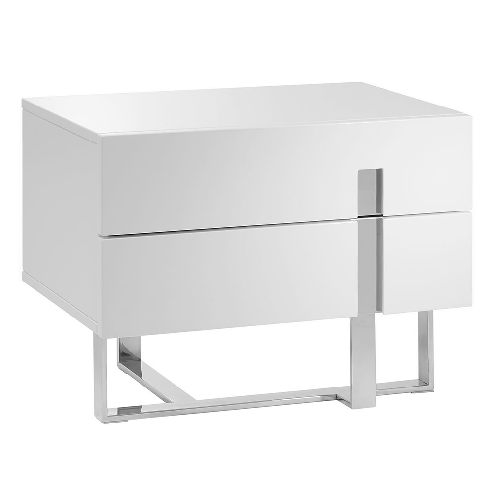 Clement High Gloss White Lacquer + Steel Modern Nightstand + End Table