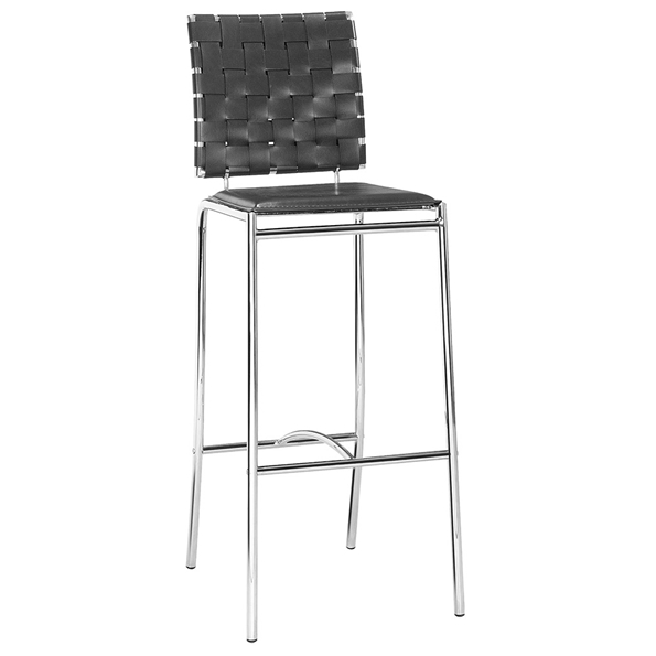 Criss Cross Modern Black Bar Stool by Zuo