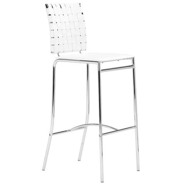 Criss Cross Modern White Bar Stool by Zuo