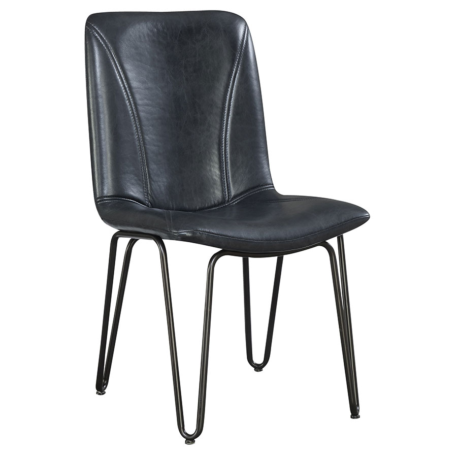 Cronister Modern Side Chair with Charcoal Leatherette