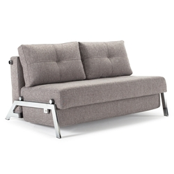 Cubed Modern Full Sleeper Loveseat in Grey + Chrome by Innovation