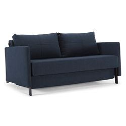 Cubed Modern Loveseat Sleeper w/ Arms in Blue by Innovation