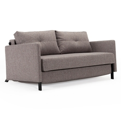 Cubed Modern Full Sofa Sleeper w/ Arms in Grey by Innovation