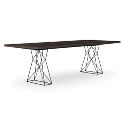 "Modloft Curzon 102"" Smoked Oak Modern Dining Table with Truss Base"