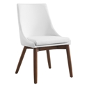 Cutty White Faux Leather + Walnut Wood Modern Dining Side Chair