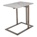 Dalhart Brushed Steel + White Marble Rectangular Modern End Table