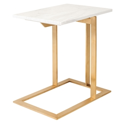 Dalhart Gold Steel + White Marble Modern Side Table