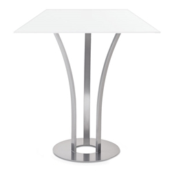 Dalia White Glass + Metal Modern Bar Height Table by Amisco