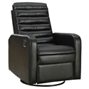 Damien Modern Black Bonded Leather Recliner Swivel Glider