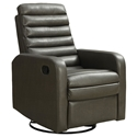 Damien Modern Gray Bonded Leather Recliner Swivel Glider