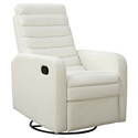 Damien Modern White Bonded Leather Recliner Swivel Glider