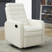 Damien Contemporary White Leather Recliner Swivel Glider