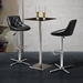 Damon Black Leatherette + Chrome Modern Adjustable Stool