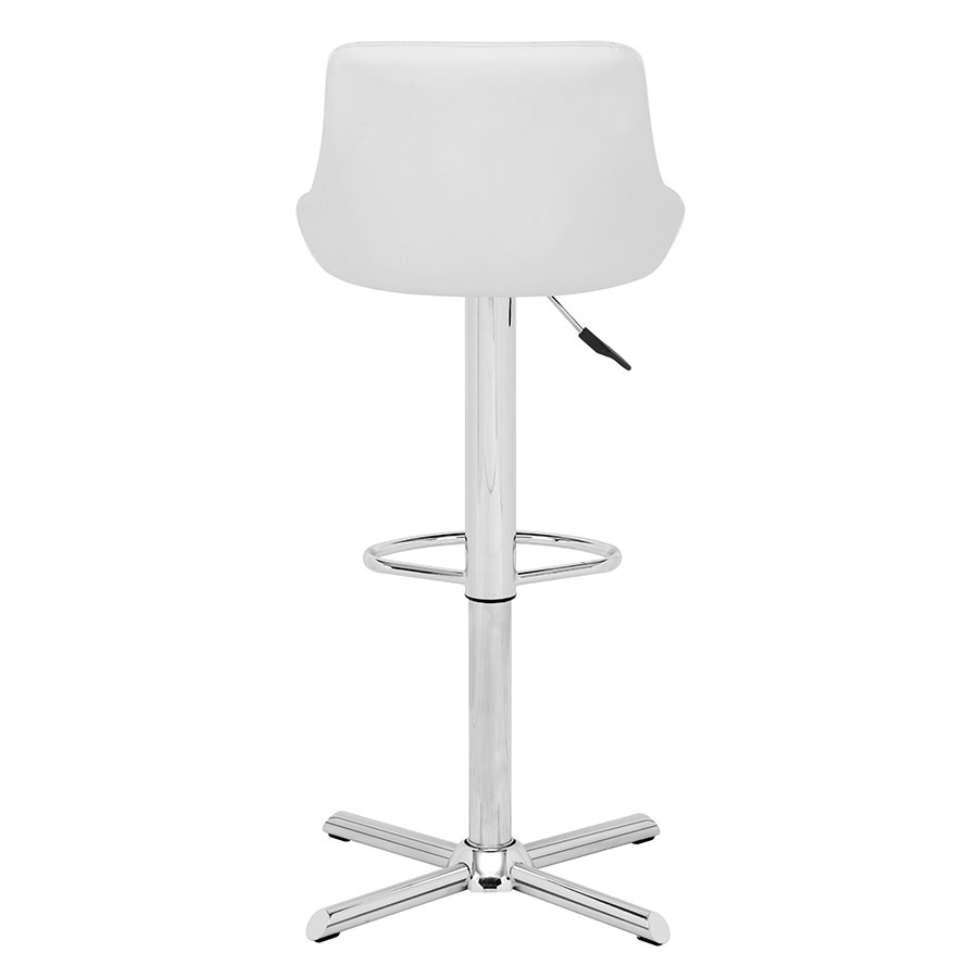 Damon White Leatherette Contemporary Adjustable Stool
