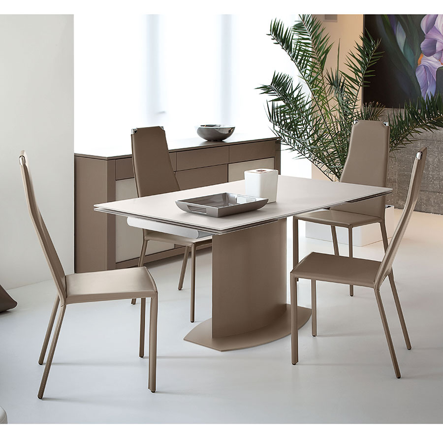 danae modern taupe extension dining table by domitalia eurway. Black Bedroom Furniture Sets. Home Design Ideas
