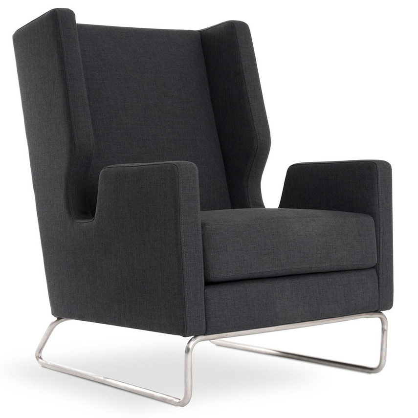 Danforth Contemporary Lounge Chair in Urban Tweed Ink