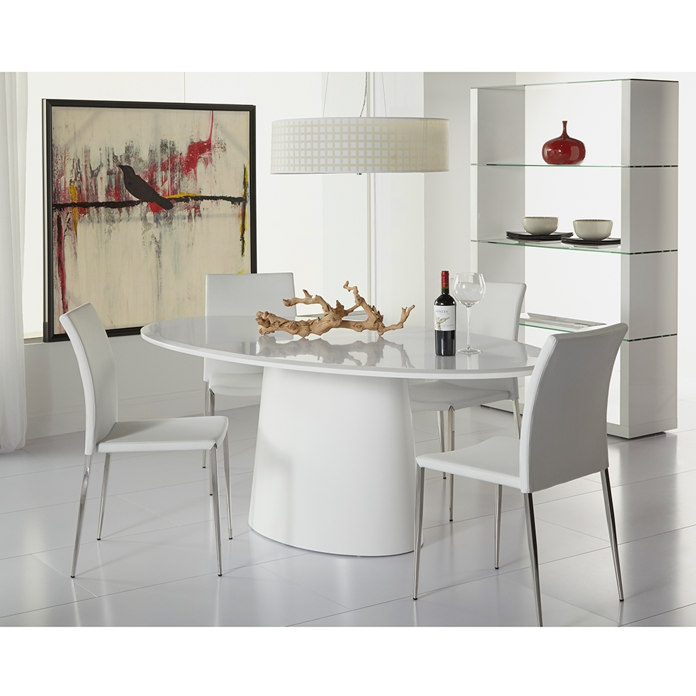 Daniel Contemporary White Oval Dining Table