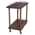 Danielle Walnut Stained Ash Wood + Brushed Stainless Steel Modern Bar Cart