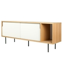 Dann Oak + White + Black Contemporary Sideboard by TemaHome