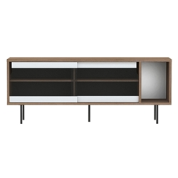 Dann Walnut + Glass + Black Contemporary Sideboard