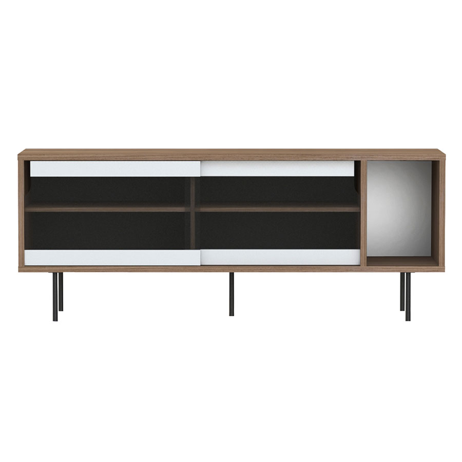 Dann Walnut + Glass + Black Contemporary Sideboard by TemaHome