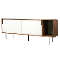 Dann Walnut + White + Black Contemporary Sideboard by TemaHome
