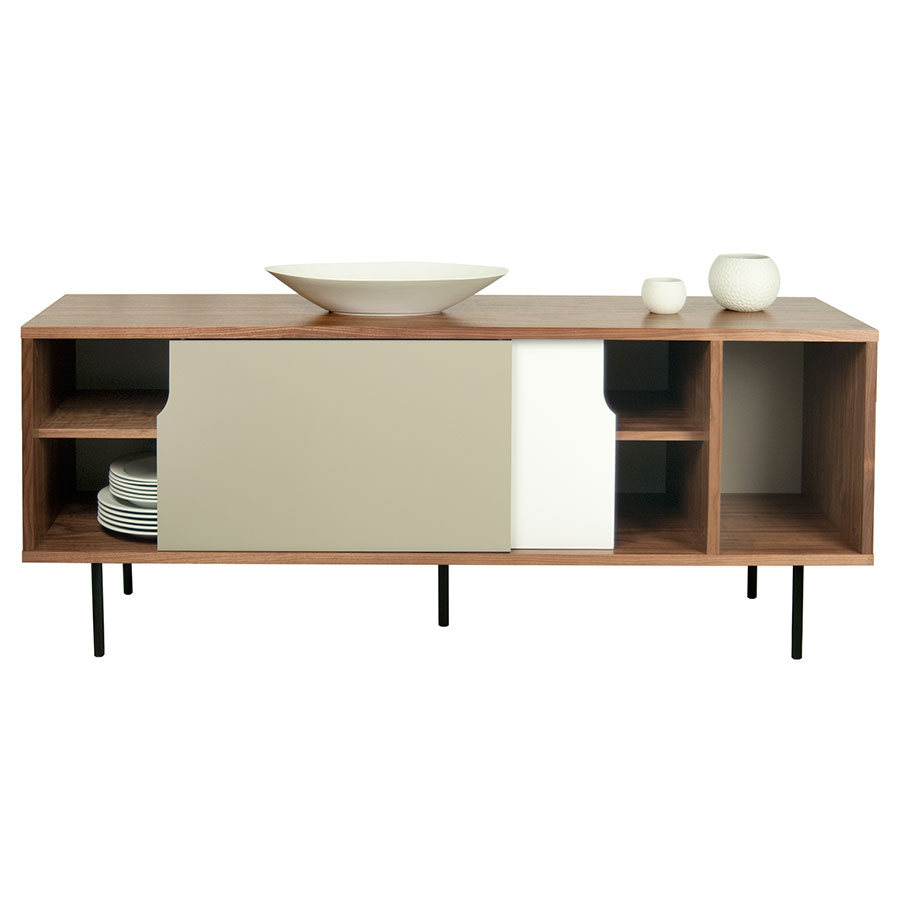 Dann Walnut + White + Gray + Black Contemporary Sideboard Dressed